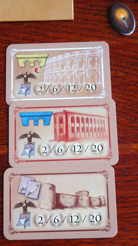 A megszerzett épületkártyák